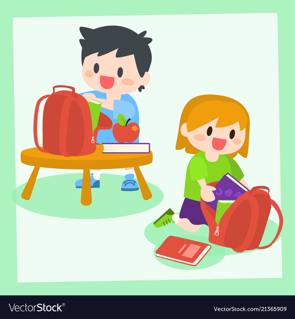 Children boy and girl getting ready for school.