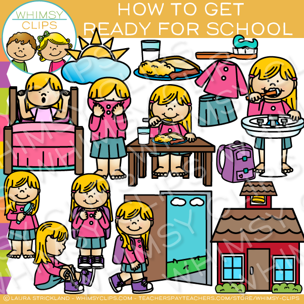 How to Get Ready for School Clip Art.