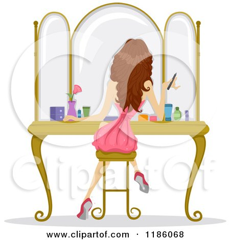 Cartoon of a Rear View of a Girl Sitting at a Vanity and Getting.