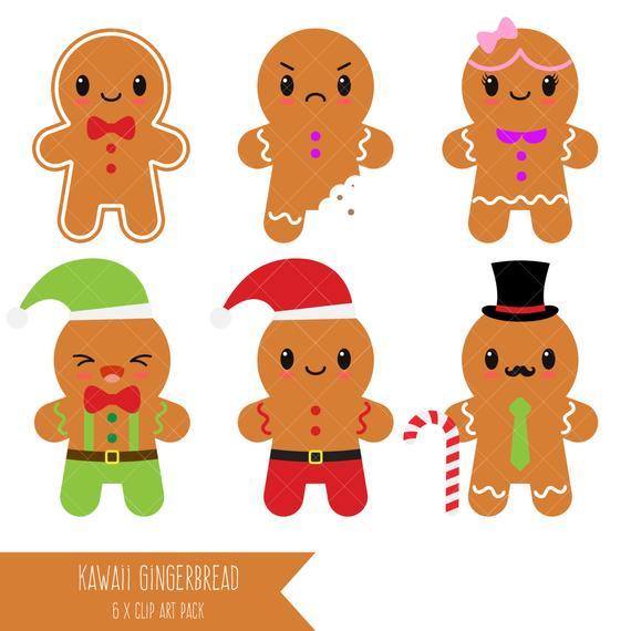 Kawaii Gingerbread Clipart / Gingerbread Man / Cookies.