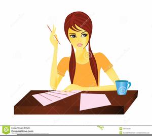 Girl Doing Homework Clipart.