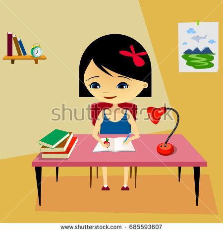 Girl doing homework clipart 8 » Clipart Station.