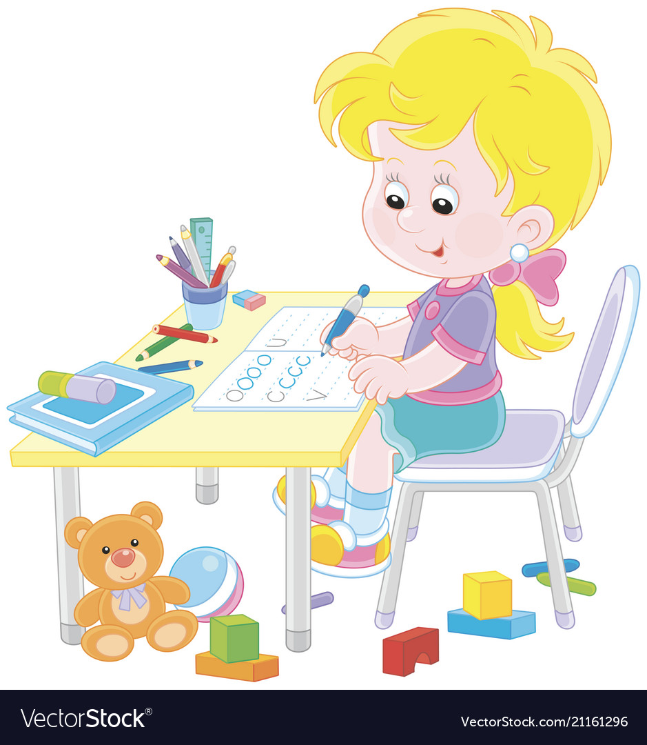 Girl doing homework after her game with toys.
