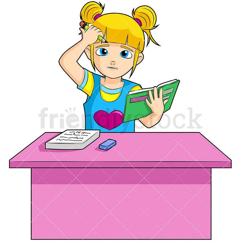A Young Blonde Girl Sitting At A Bright Pink Desk Looking Confused.