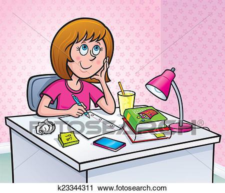 Girl working On Homework Clip Art.