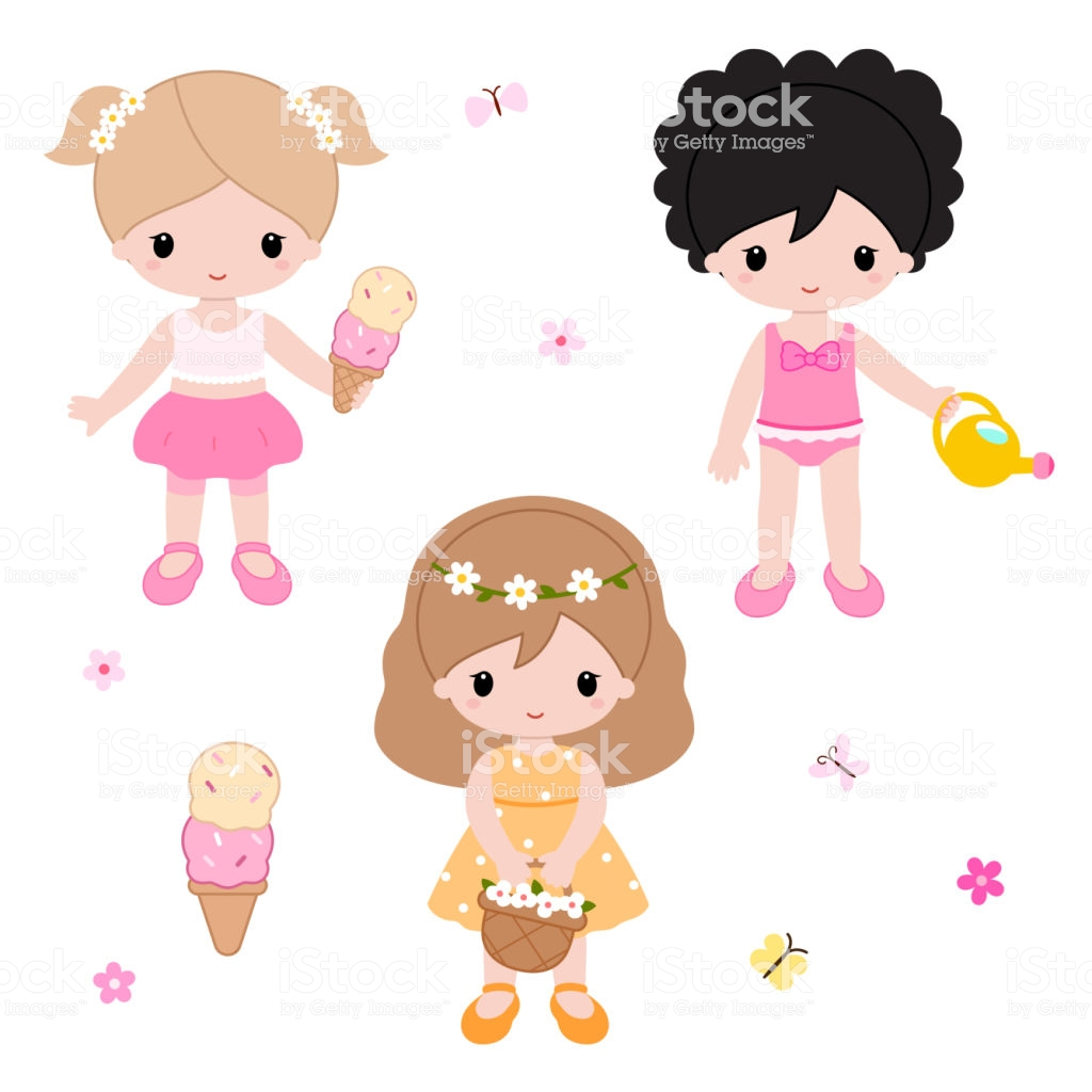 Cute Little Girls Playing On The Nature Summer Clipart Vector Stock  Illustration.