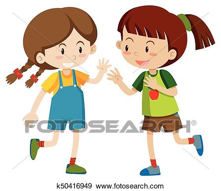 Two happy girls playing Clip Art.