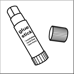 Clip Art: Glue Stick 1 B&W I abcteach.com.