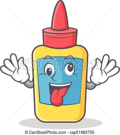 Crazy glue bottle character cartoon.
