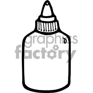 glue bottle black white clipart. Royalty.