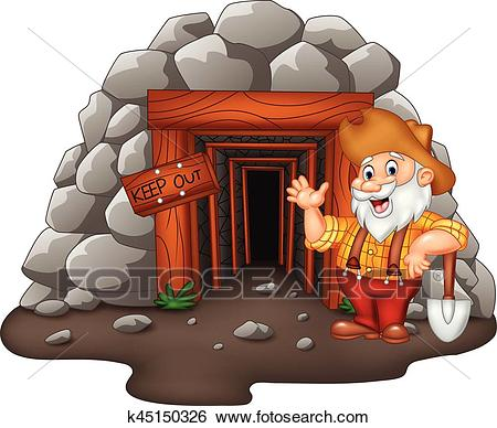 Cartoon mine entrance with gold miner Clip Art.