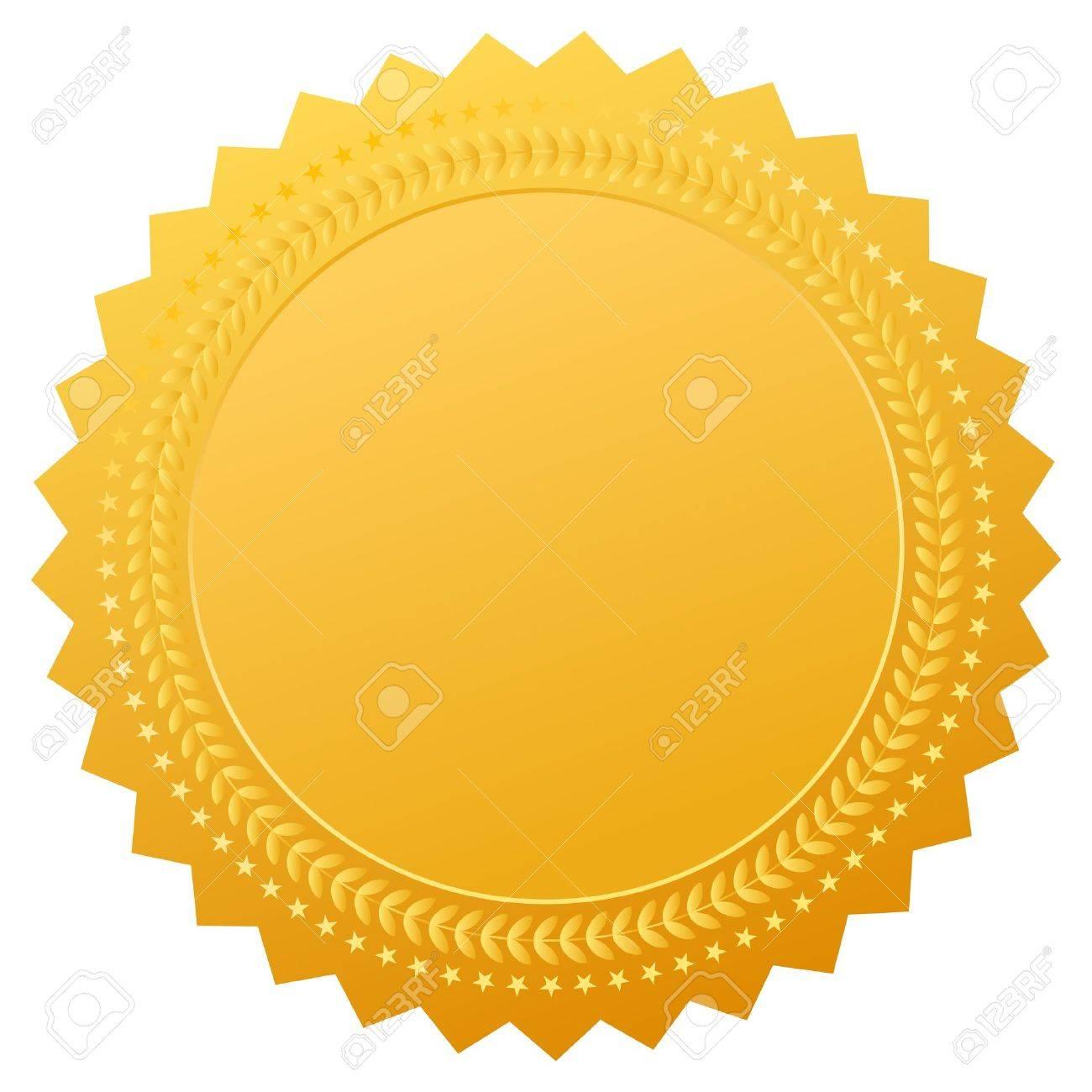 Blank gold seal, vector clip art.
