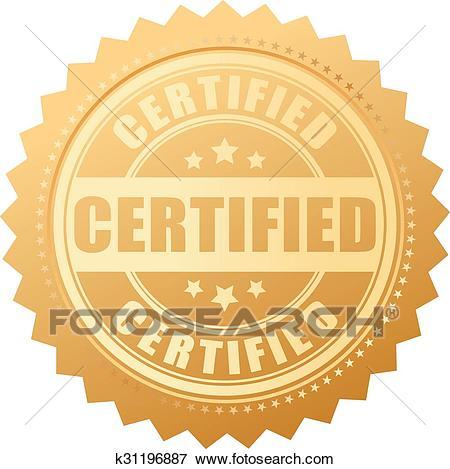 Certified gold seal Clip Art.