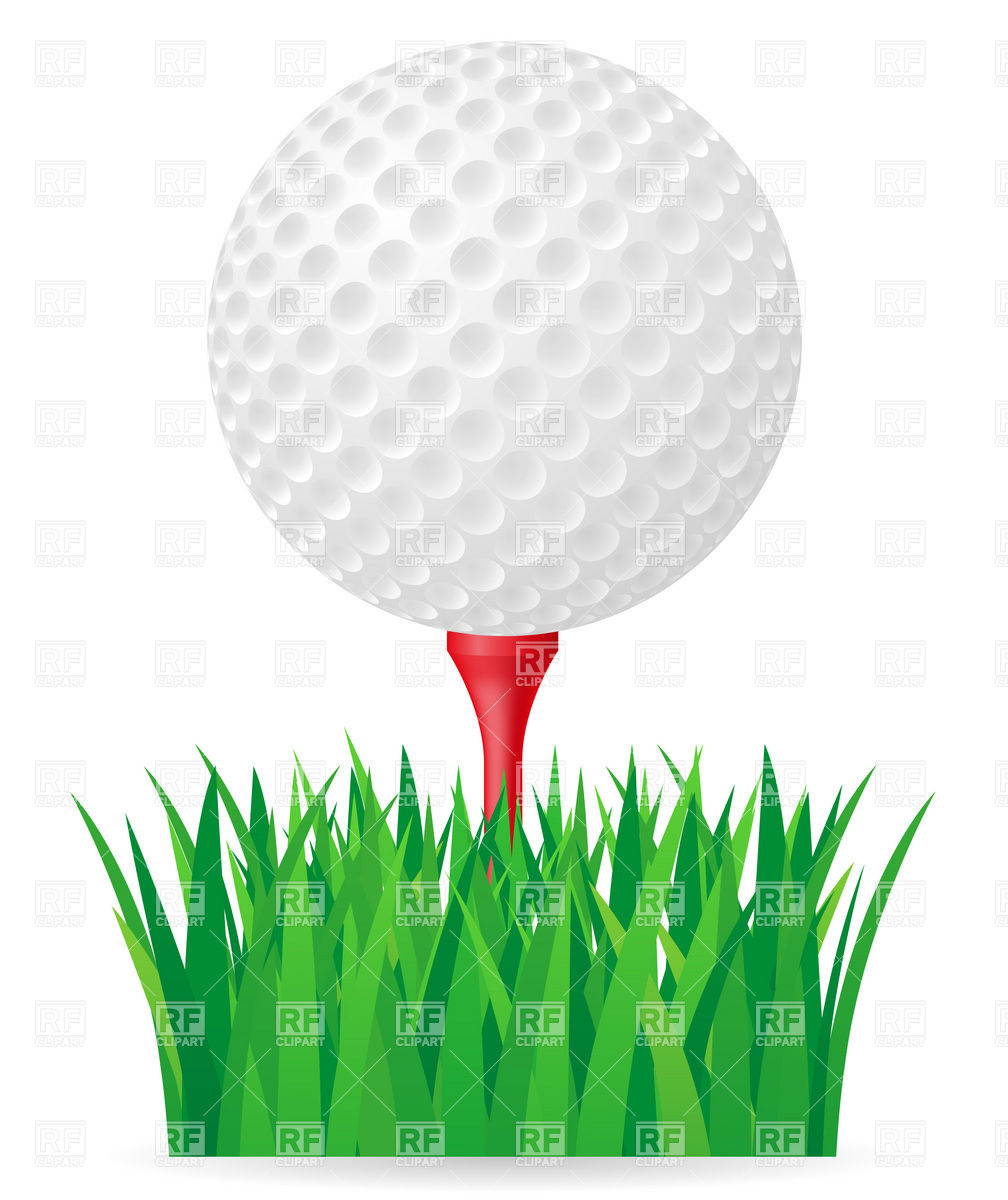 Golf ball on tee and green grass Stock Vector Image.