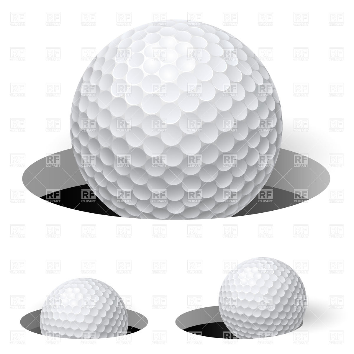 Golf ball in hole Stock Vector Image.