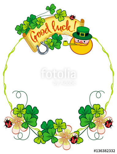 Funny frame with shamrock, leprechaun and text