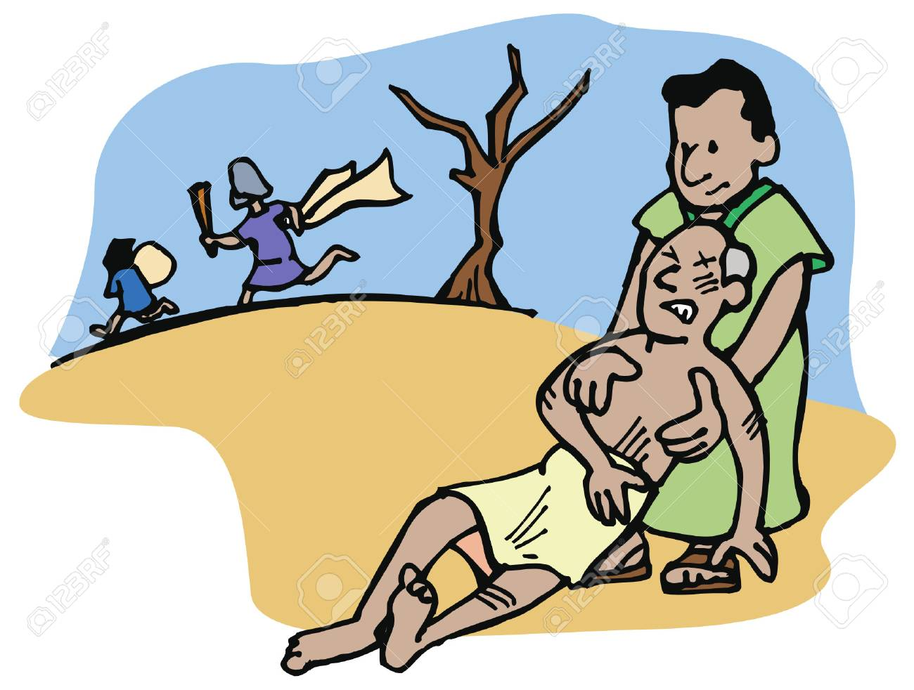 The Good Samaritan helps and takes care of a man who has been...