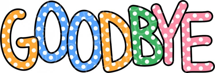 Goodbye Polka Dot Text Greeting Clip Art.