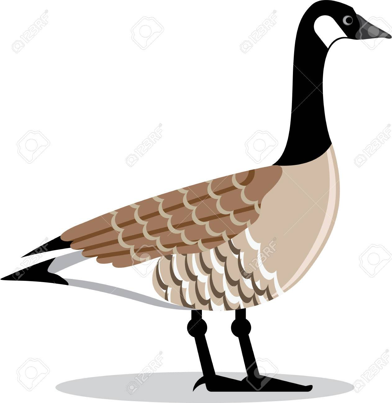 Brown Goose vector Stylized illustration clip.