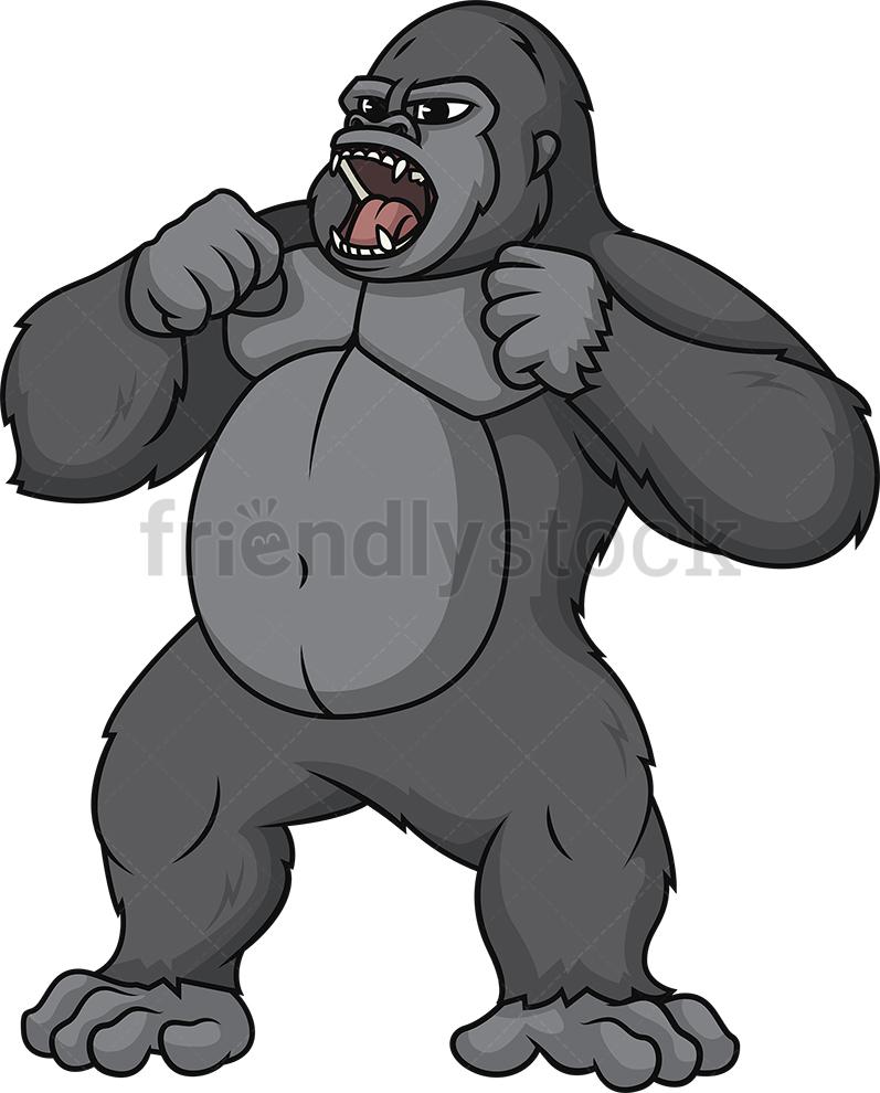 Gorilla Pounding His Chest.