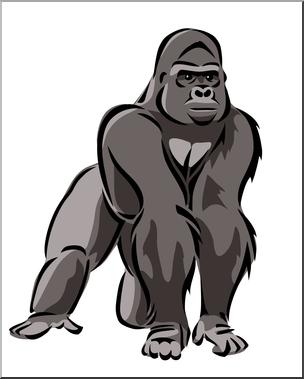 Clip Art: Gorilla 2 Color 1 I abcteach.com.