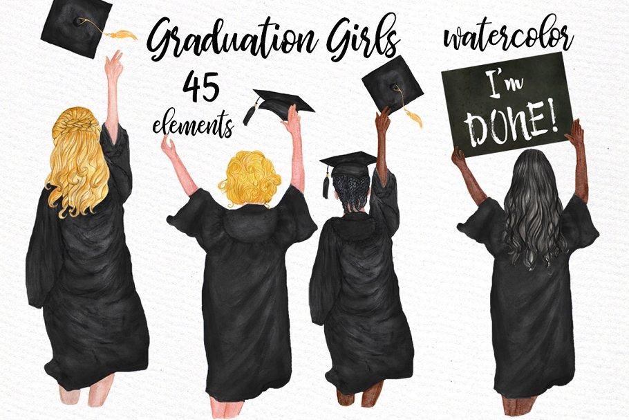 Graduation Clipart, GRADUATING GIRLS ~ Illustrations ~ Creative Market.