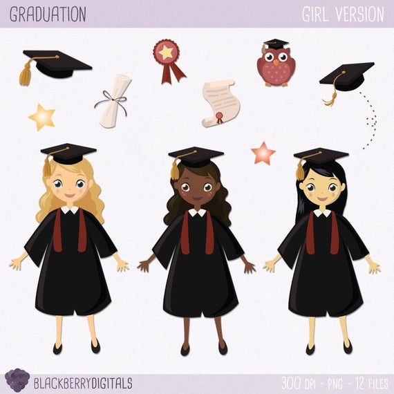Graduation Clipart Set, graduation girls, graduation clip art, graduation  girls clipart, commercial use with Instant Download.