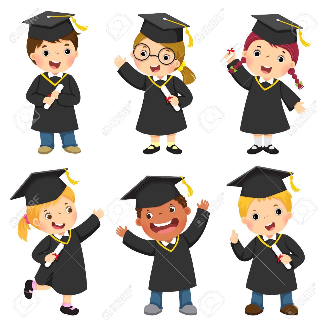 Set of children in their graduation gown..