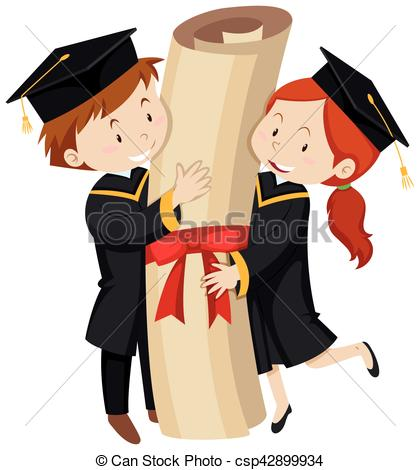 Man and woman in graduation gown.