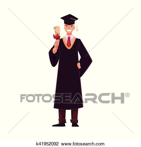 Student wearing traditional graduation gown and cap, holding diploma Clipart.