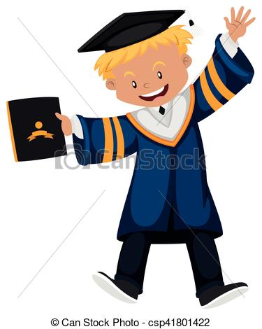 Man in graduation gown holding diploma.