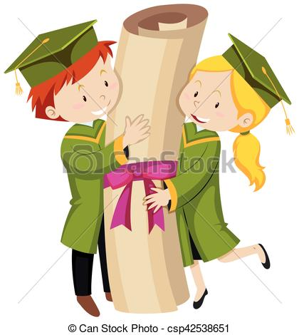 Man and woman in green graduation gown.