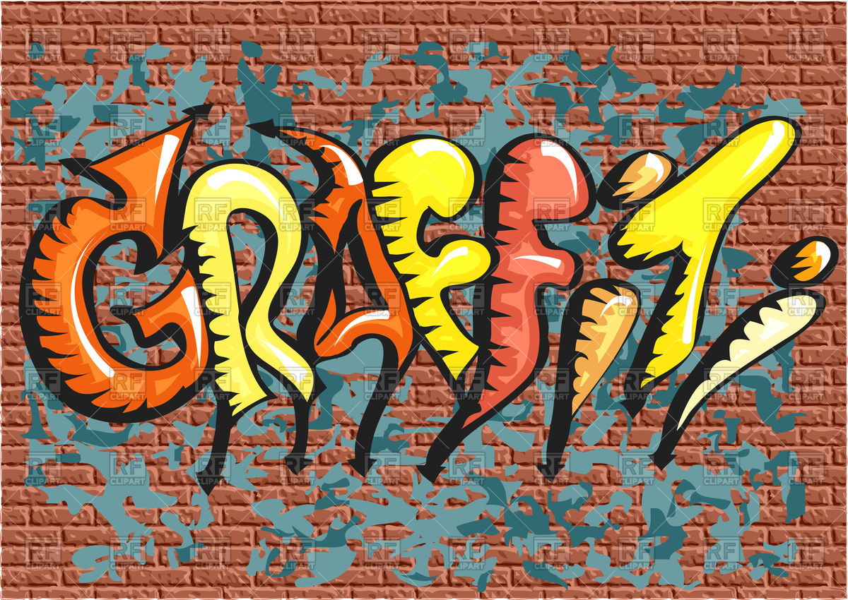 Graffiti. abstract multicolor text on brick wall Stock Vector Image.