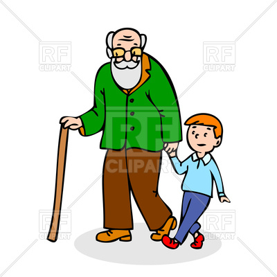 Grandfather with grandson Vector Image.