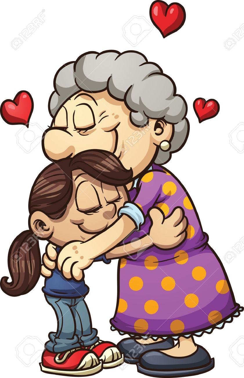 Girl hugging her grandmother Vector clip art illustration with...