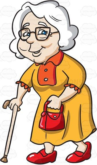 A charming grandmother going out for a walk 1.