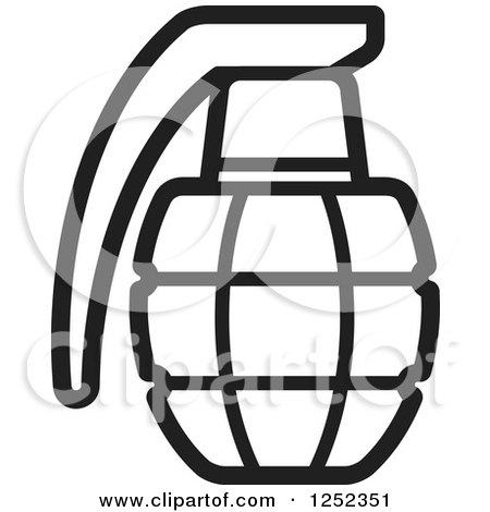 Clipart of a Black and White Grenade.