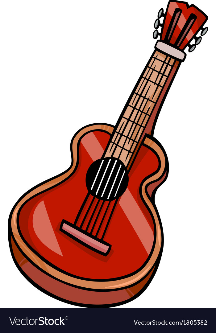 Acoustic guitar cartoon clip art.