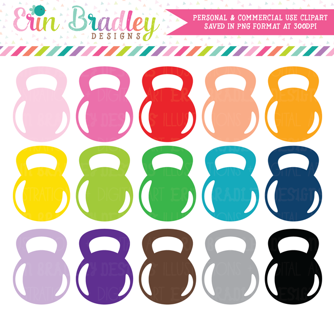 Kettlebell Clipart, Gym and Exercise Clip Art.