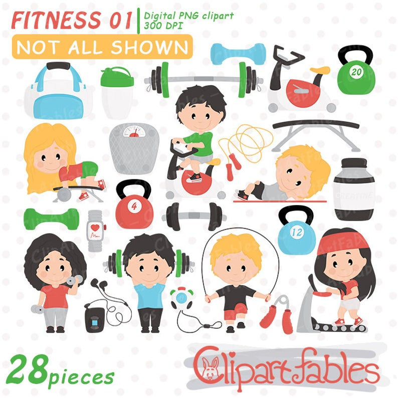 Cute fitness clipart, gym clip art set, workout, yoga,health exercise,  sweet training arts.