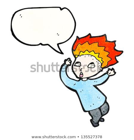 Cartoon Man Hair On Fire Stock Illustration.