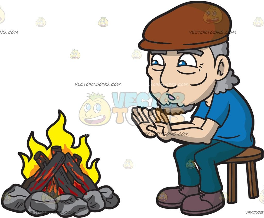 An Old Man Warming Himself Around The Camp Fire : An old man with.