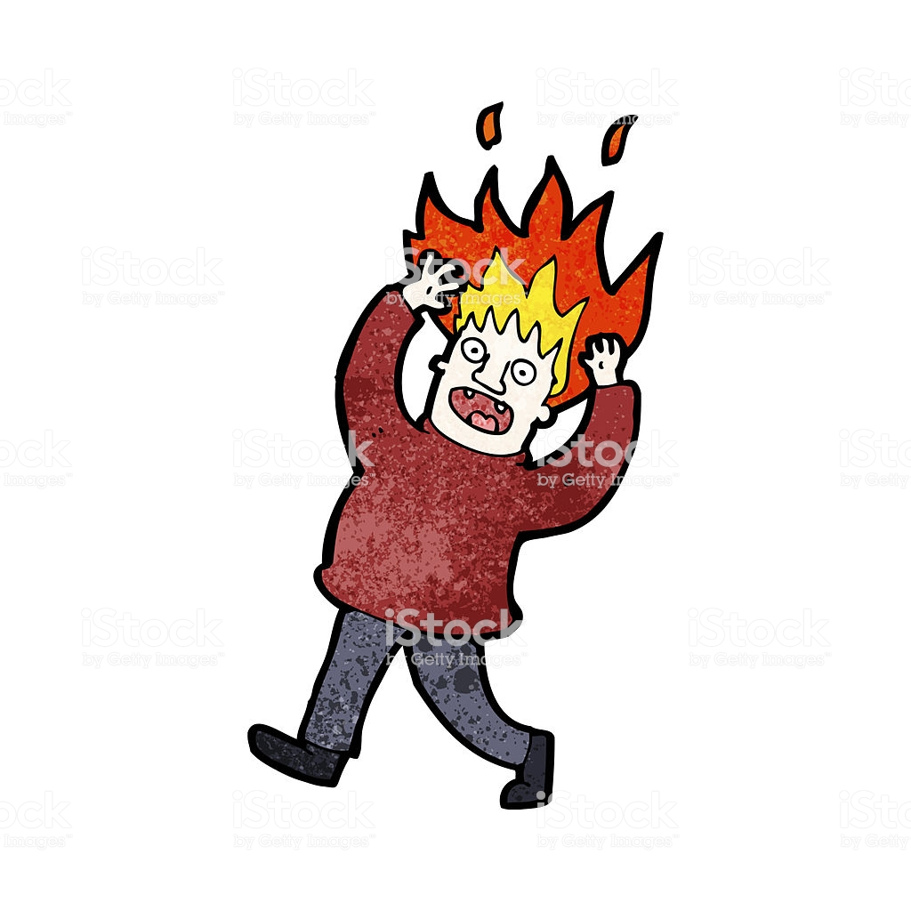Cartoon Man With Hair On Fire Stock Vector Art & More Images of.