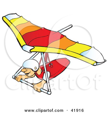 Clipart Illustration of a Happy Hangglider Gliding by Snowy #41916.