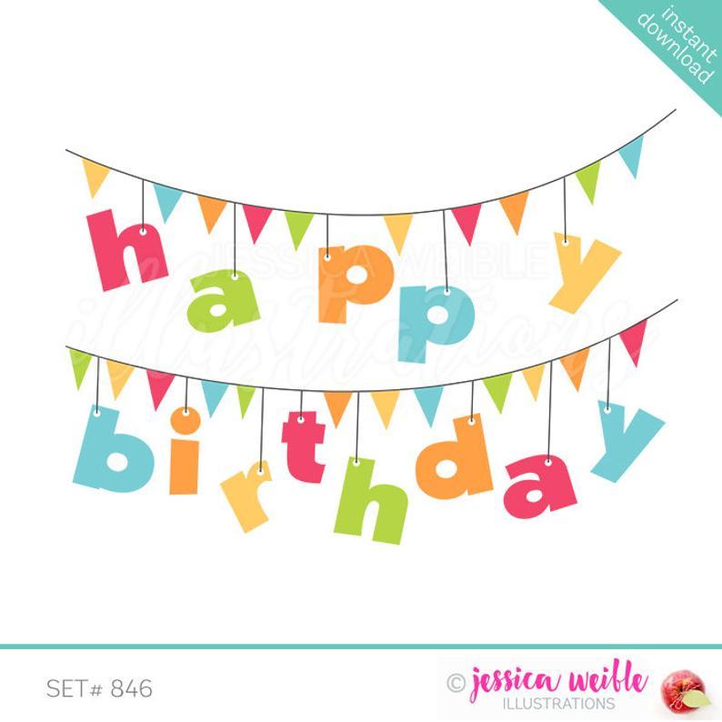 Happy Birthday Banner Cute Digital Clipart, birthday Clip art, Birthday  Graphic, Party Banner Illustration, #846.