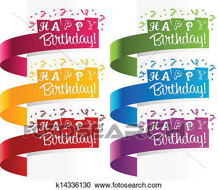 Happy Birthday Banners Clipart.