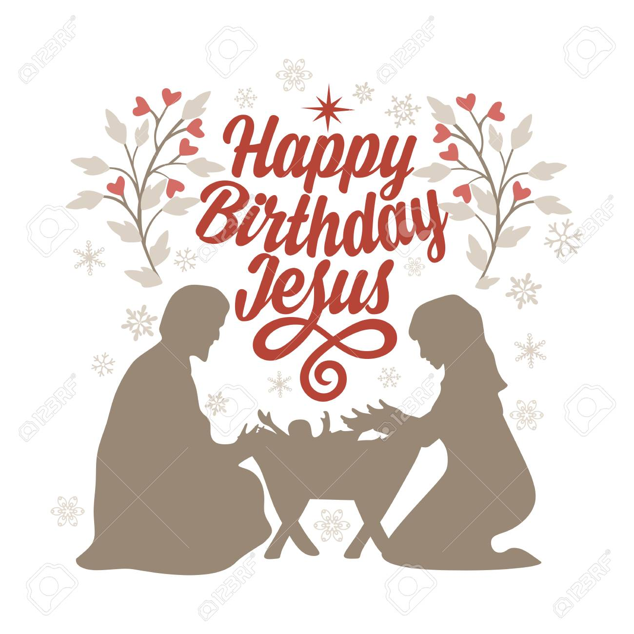 Bible lettering. Christmas art. Happy birthday Jesus..
