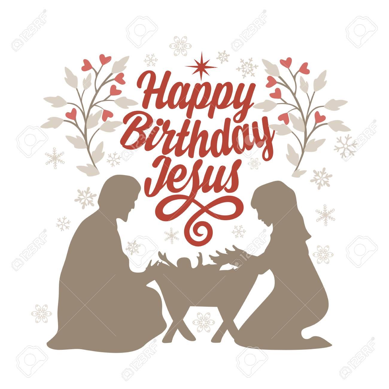 Bible lettering. Christmas art. Happy birthday Jesus..