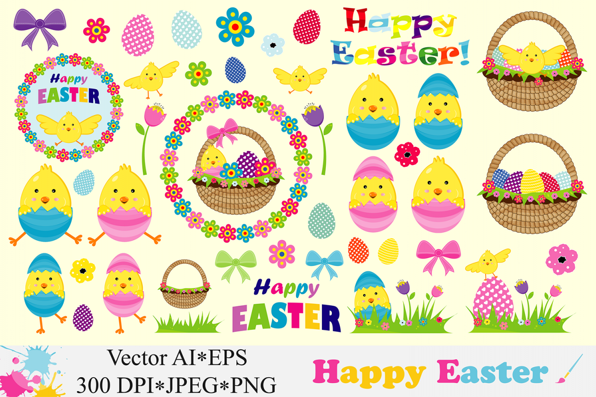 Happy Easter Clipart Cute Easter chick, basket, eggs Vector graphics Easter  illustrations.