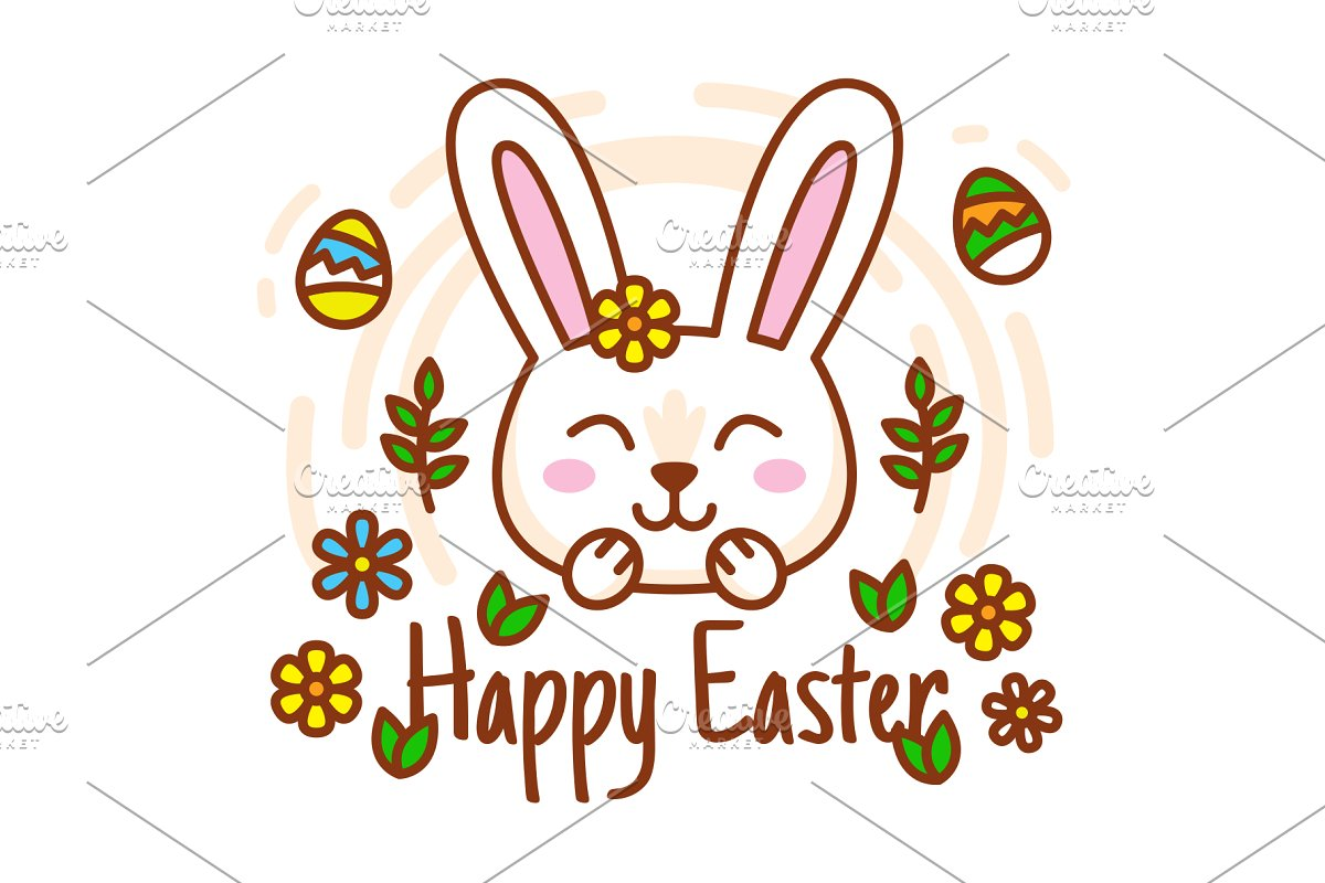 Happy Easter Bunny Badge Clipart.